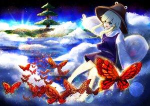 Rating: Safe Score: 53 Tags: barefoot blonde_hair butterfly clouds green_eyes hat koga_rejini moriya_suwako skirt sky touhou tree User: minabiStrikesAgain