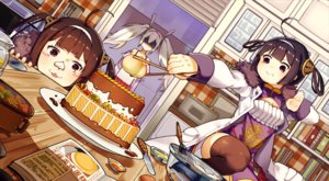 Rating: Safe Score: 25 Tags: anthropomorphism azur_lane blush brown_eyes brown_hair cake cat_smile food forte headband laffey_(azur_lane) long_hair ning_hai_(azur_lane) ping_hai_(azur_lane) purple_eyes short_hair thighhighs twintails white_hair User: RyuZU