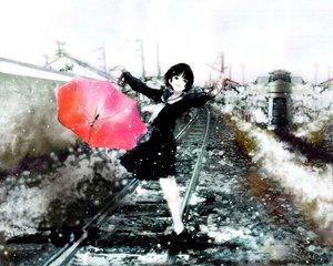 Rating: Safe Score: 35 Tags: mikimoto_haruhiko snow train umbrella User: Oyashiro-sama