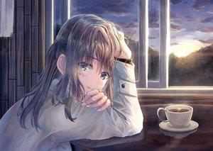 Rating: Safe Score: 54 Tags: aqua_eyes brown_hair clouds drink long_hair original sky sunset windfeathers User: RyuZU