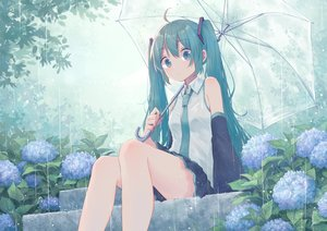 Rating: Safe Score: 88 Tags: flowers green_eyes green_hair hatsune_miku long_hair mimengfeixue rain skirt stairs tie twintails umbrella vocaloid water User: BattlequeenYume