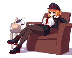 Rating: Safe Score: 7 Tags: boots brown_eyes drink gloves hat narynn narynn_(character) orange_hair original pantyhose short_hair skirt tie uniform white User: otaku_emmy