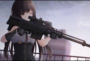 Rating: Safe Score: 51 Tags: brown_eyes brown_hair gloves gun keenh long_hair original signed weapon wink User: RyuZU