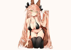 Rating: Safe Score: 95 Tags: animal_ears bikini blush breasts cleavage fate/extra fate/grand_order fate_(series) foxgirl long_hair pink_hair silver_(chenwen) sketch swimsuit tail tamamo_no_mae_(fate) thighhighs yellow_eyes User: otaku_emmy