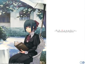 Rating: Safe Score: 9 Tags: black_hair book bow dress gagraphic gray_eyes logo nagahama_megumi short_hair umbrella watermark User: Oyashiro-sama