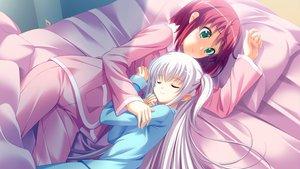 Rating: Safe Score: 127 Tags: 2girls amatsu_tokino bed cygnus game_cg kikouyoku_senki_gin_no_toki_no_corona odagiri_corona pajamas shoujo_ai sleeping User: Wiresetc