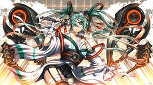 Rating: Safe Score: 115 Tags: bandage gia hatsune_miku katana long_hair original sword thighhighs twintails vocaloid weapon User: Flandre93
