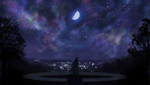 Rating: Safe Score: 160 Tags: akiba_rika dark ezaki_yuuichi hanbun_no_tsuki_ga_noboru_sora moon night sky stars totuka User: Tensa