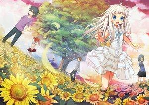 Rating: Safe Score: 47 Tags: anjou_naruko ano_hi_mita_hana_no_namae_wo_bokutachi_wa_mada_shiranai blue_eyes dress flowers honma_meiko matsuyuki_atsumu petals spirtie tree tsurumi_chiriko yadomi_jinta User: opai