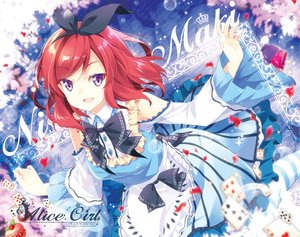 Rating: Safe Score: 89 Tags: alice_in_wonderland apron bow collar cosplay dress headband love_live!_school_idol_project mocha_(naturefour) nishikino_maki petals purple_eyes red_hair short_hair User: otaku_emmy