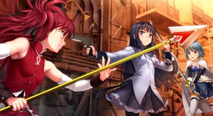Rating: Safe Score: 154 Tags: akemi_homura gun mahou_shoujo_madoka_magica miki_sayaka moonknives pantyhose sakura_kyouko sword thighhighs weapon User: Wiresetc