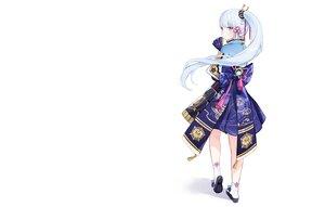 Rating: Safe Score: 52 Tags: armor blue_eyes blue_hair blush bow fan genshin_impact japanese_clothes kamisato_ayaka long_hair nami_(nyaa) ponytail samurai socks watermark white User: otaku_emmy