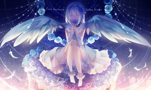 Rating: Safe Score: 138 Tags: dress feathers flowers nanna_(irasutokanakili) original pixiv_fantasia rose white_hair wings User: FormX