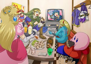 Rating: Safe Score: 114 Tags: black_hair blonde_hair blue_eyes book brown_eyes cape crown dress drink falco_lombardi fire_emblem food kirby kirby_(character) link_(zelda) mario marth_(fire_emblem) meta_knight metroid microphone mother ness pocky pointed_ears princess_peach samus_aran star_fox super_mario super_smash_bros. suzumiya_misa the_legend_of_zelda User: 02
