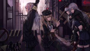 Rating: Safe Score: 55 Tags: anthropomorphism blonde_hair building girls_frontline gray_hair group hat jpeg_artifacts long_hair pantyhose paper red-d red_eyes skirt thighhighs wink User: mattiasc02