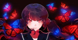 Rating: Safe Score: 86 Tags: black_hair blush butterfly dangan-ronpa dark harukawa_maki long_hair new_dangan-ronpa_v3 red_eyes savi_(byakushimc) twintails User: RyuZU