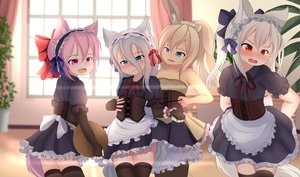 Rating: Safe Score: 47 Tags: aliasing animal_ears blush bunny_ears bunnygirl group hotel01 loli maid original thighhighs wolfgirl User: gnarf1975