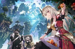 Rating: Safe Score: 59 Tags: 2girls armor dress essual_(layer_world) food fruit gray_hair hat long_hair male original pointed_ears purple_eyes white_hair User: BattlequeenYume