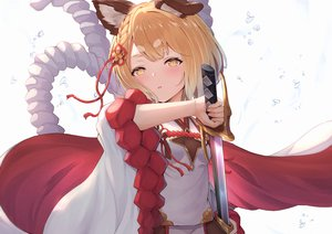 Rating: Safe Score: 68 Tags: aliasing animal_ears blonde_hair braids doggirl granblue_fantasy kimblee loli rope sword vajra_(granblue_fantasy) weapon yellow_eyes User: BattlequeenYume