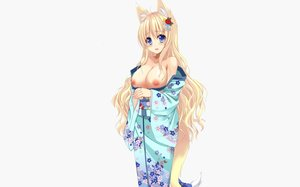 Rating: Questionable Score: 65 Tags: animal_ears aqua_eyes blonde_hair blush breasts foxgirl japanese_clothes kimono long_hair nipples no_bra open_shirt original photoshop sogaya tail white User: luckyluna