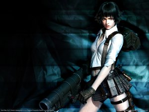 Rating: Questionable Score: 145 Tags: 3d bicolored_eyes black_hair devil_may_cry lady realistic weapon User: Oichi
