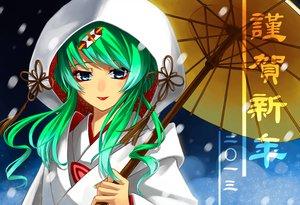Rating: Safe Score: 59 Tags: aqua_hair blue_eyes cross_akiha hatsune_miku japanese_clothes kimono long_hair snow umbrella vocaloid wedding_attire yuki_miku User: STORM