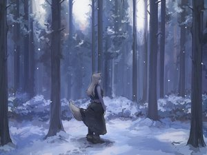 Rating: Safe Score: 34 Tags: forest horo ookami_to_koushinryou osu5i scenic snow tree wolfgirl User: mattiasc02