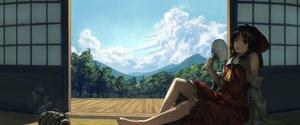 Rating: Safe Score: 139 Tags: barefoot bellabow bow clouds fan hakurei_reimu japanese_clothes miko skirt summer touhou User: Flandre93
