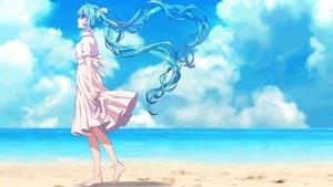 Rating: Safe Score: 63 Tags: aqua_eyes aqua_hair barefoot beach clouds dress hatsune_miku long_hair matsuda_toki summer_dress twintails vocaloid User: FormX