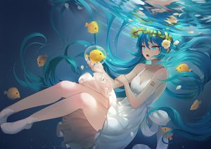 Rating: Safe Score: 53 Tags: animal aqua_eyes aqua_hair bubbles dress fish flowers hatsune_miku lian_yao long_hair petals signed summer_dress tears twintails underwater vocaloid water User: RyuZU