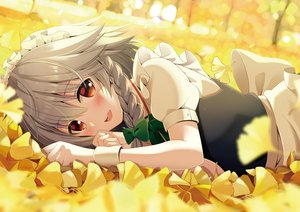 Rating: Safe Score: 92 Tags: apron autumn blush braids close gray_hair headdress izayoi_sakuya leaves maid red_eyes short_hair touhou wristwear yellow yuuka_nonoko User: otaku_emmy