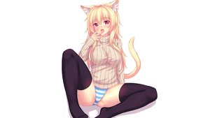 Rating: Questionable Score: 158 Tags: animal_ears blonde_hair blush cameltoe catgirl fast-runner-2024 original panties red_eyes spread_legs striped_panties tail thighhighs tiffy underwear white User: gnarf1975