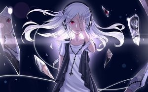 Rating: Safe Score: 241 Tags: headphones long_hair necklace nidy-2d- original red_eyes reflection white_hair User: megaki11