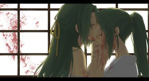 Rating: Safe Score: 112 Tags: blood crying green_hair higurashi_no_naku_koro_ni sonozaki_mion sonozaki_shion tears twins User: ishmon16