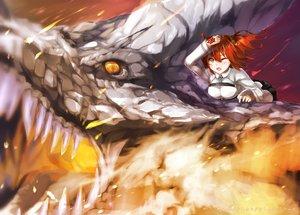 Rating: Safe Score: 30 Tags: dragon fate/apocrypha fate/grand_order fate_(series) fire fujimaru_ritsuka_(female) orange_eyes red_hair short_hair tagme_(artist) wink User: BattlequeenYume