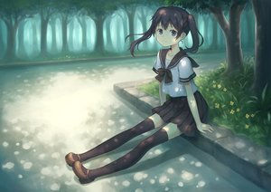 Rating: Safe Score: 18 Tags: black_hair blue_eyes flowers forest original park seifuku shade tagme_(artist) thighhighs tree twintails User: luckyluna
