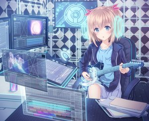 Rating: Safe Score: 158 Tags: alc_(ex2_lv) blonde_hair blue_eyes book computer guitar instrument original short_hair User: Wiresetc