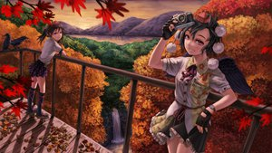 Rating: Safe Score: 73 Tags: animal autumn bird black_hair book brown_hair camera gloves hat himekaidou_hatate kneehighs kurione_(zassou) landscape leaves pink_eyes red_eyes scenic shameimaru_aya skirt touhou tree waterfall wings User: HawthorneKitty