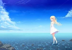 Rating: Safe Score: 156 Tags: blonde_hair blue_eyes clouds dress original sky summer_dress uttt water User: opai