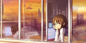 Rating: Safe Score: 43 Tags: aircraft brown_hair building city kurou_(crow) original purple_eyes reflection school_uniform short_hair sunset User: RyuZU