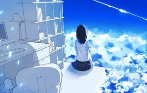 Rating: Safe Score: 130 Tags: aliasing black_hair clouds computer levi9452 original polychromatic school_uniform skirt sky User: Flandre93