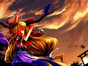 Rating: Safe Score: 25 Tags: animal bird clouds dress horns ibuki_suika long_hair orange_hair ribbons sky touhou User: Tensa