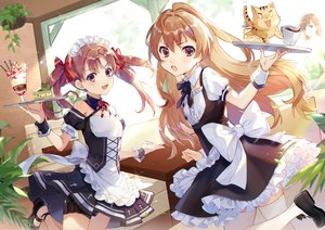 Rating: Safe Score: 130 Tags: aisaka_taiga animal apron bow brown_eyes brown_hair cake crossover dress drink ekita_xuan flat_chest food garter headdress ice_cream jpeg_artifacts long_hair maid misaka_mikoto ribbons shirai_kuroko short_hair thighhighs tiger to_aru_kagaku_no_railgun to_aru_majutsu_no_index toradora twintails waitress User: RyuZU