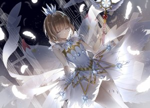 Rating: Safe Score: 44 Tags: brown_hair card_captor_sakura crown dress feathers gloves kinomoto_sakura lium short_hair skirt_lift wand wings User: RyuZU