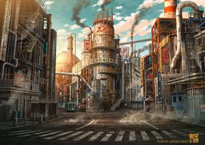 Rating: Safe Score: 52 Tags: building car city clouds industrial nobody original ruins scenic sky tokyogenso translation_request watermark User: RyuZU