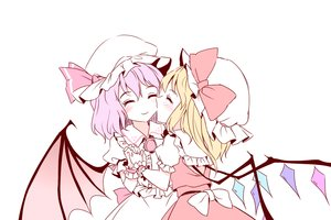 Rating: Safe Score: 3 Tags: 2girls blonde_hair blush bow dress flandre_scarlet hat minust pink_hair polychromatic remilia_scarlet short_hair shoujo_ai touhou vampire white wings User: RyuZU