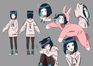 Rating: Safe Score: 39 Tags: animal_ears black_hair blue_eyes bunny_ears catgirl choker gems_company hoodie mizushima_aoi short_hair socks tama_(tama-s) wink User: otaku_emmy