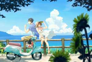 Rating: Safe Score: 46 Tags: chama_kou clouds dress drink hat motorcycle original popsicle scenic summer_dress water User: Kiho