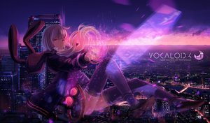 Rating: Safe Score: 83 Tags: city hoodie inabi long_hair magic purple_eyes purple_hair sunset thighhighs twintails vocaloid voiceroid yuzuki_yukari User: FormX