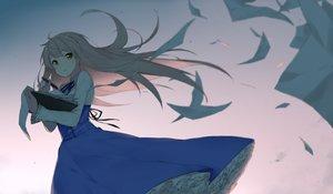 Rating: Safe Score: 55 Tags: blonde_hair book dress fhang long_hair orange_eyes original paper User: RyuZU